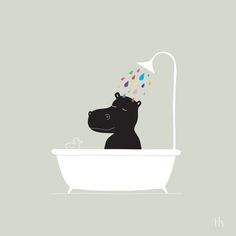 The Happy Shower Art Print by GretaZserbo