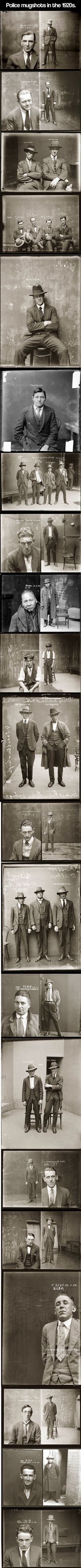 Police mugshots in the 1920s.