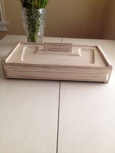 VALET Wood Tray Desktop Organizer SHABBY by SouthamptonVintage