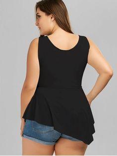 V Neck Crisscross Asymmetrical Plus Size Top - BLACK 2XL