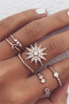 Product Name Popular personality stars moon ring set SKU 60B432A989D5 Occasion Casual Jewelry Material Alloy + rhinestone Notice: 1. Please allow 1-5mm differences due to manual measurement. 2. Due to the light and screen difference, the item's color may be slightly different from the pictures. Please