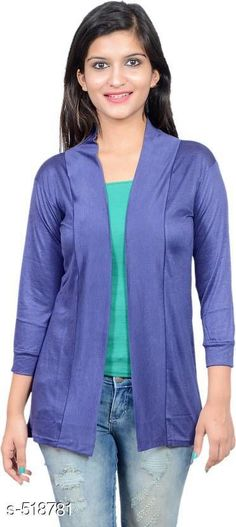 Capes, Shrugs & Ponchos Stylish Solid Viscose Shrug Fabric: Viscose Sleeves: 3/4th Sleeves Are Included Size: M- 34 in L- 36 in XL- 39 in Length: Up To 26 in Type: Stitched Description: It Has 1 Piece Of Women's Shrug Pattern: Solid Country of Origin: India Sizes Available: Free Size, M, L, XL   Catalog Rating: ★3.9 (422)  Catalog Name: Camila Fashion Tribe Enhanced Viscose Shrugs Vol 2 CatalogID_57359 C79-SC1024 Code: 772-518781-