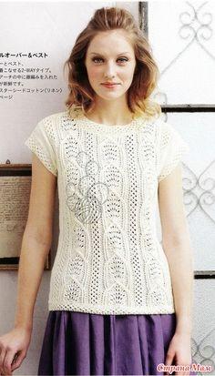 Летний пуловер спицами.