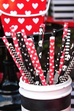 Paper Straws from a Pirate Themed Valentine Party via Kara's Party Ideas KarasPartyIdeas.com (21)