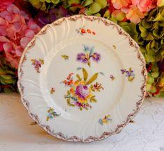 Beautiful RL Dresden Porcelain Plate ~ Flowers ~ Gold #Dresden