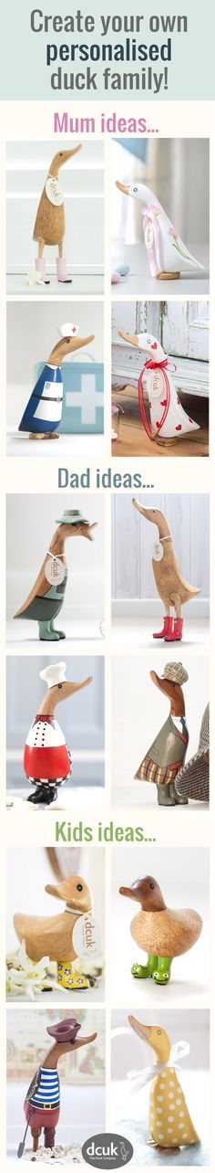 Have fun creating your very own duck personalised family display! With characters and styles to suit all family members, here are just a few ideas! Each hand carved wooden duck can be personalised with the name of your choice on their name tags - making great gifts or a cute home decor display! View all our collections at The Duck Company, DCUK