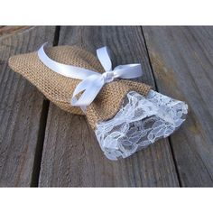 20 Rustic favor bags, burlap and lace favor bags candy bag (3x5inch) ($5.50) found on Polyvore