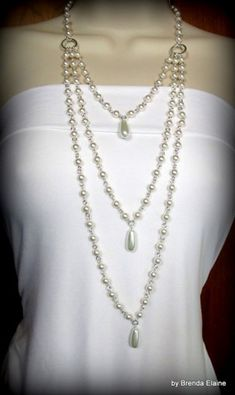 Pearl Necklace with Three Strands and Teardrops | byBrendaElaine - Jewelry on ArtFire