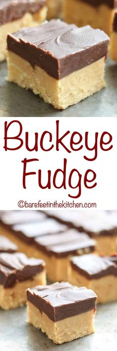 - Buckeye Fudge is the best of both worlds! Creamy peanut butter meets chocolate i… Buckeye Fudge is the best of both worlds! Creamy peanut butter meets chocolate in this easy treat. – get the recipe at barefeetinthekitc… Fudge Recipes, Candy Recipes, Sweet Recipes, Cookie Recipes, Dessert Recipes, Holiday Baking, Christmas Baking, Buckeye Fudge Recipe, Buckeye Bars