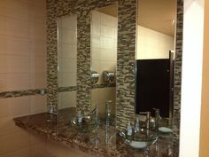 Glass tile with longated mirrors and a nice above counter bowl sink in bathrooms Bowl Sink, Evolution, Mirrors, Counter, Bathrooms, Tile, Glass, Fitness, Furniture