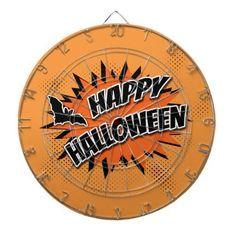 #Happy Halloween Dartboard With Darts - #halloween #party #stuff #allhalloween All Hallows' Eve All Saints' Eve #Kids & #Adaults