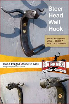 Express your style with rustic hand forged steer head wall hooks by blacksmith NJ Pawley of Cody Iron Works in Wyoming. Great for hanging anything from coats, hats, aprons, dog leashes to your Texas Longhorns gear!  Share with your favorite University of Texas fan! Hook em Horns! BUY: www.etsy.com/shop/CodyIronWorks #western #rustic #wyoming #blacksmith #wallhook #coathanger #steerhead Steer Head, Hook Em Horns, Western Homes, Texas Longhorns, Coat Hanger, Dog Leash, Wall Hooks, Blacksmithing, Aprons