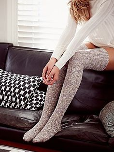 Pioneer II Thigh High | Soft and cozy cable knit marled thigh highs with a hint of color.  Ribbed trim.