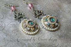 Rainbow Carousel vintage assemblage earrings di crownedbygrace