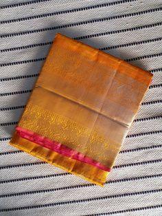 Buy Turmeric yellow kanchi Silk Cotton Saree with purplish pink Pallu & traditional long Zari Border Buy Turmeric, Silk Cotton Sarees, Blouse Neck Designs, Boat Neck, Traditional, Yellow, Pink, Dresses, Vestidos