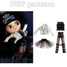 Blythe Perfecto Jacket, Punk Pants, TShirt and Tutu Skirt Pattern PDF   CraftyLine e-pattern shop