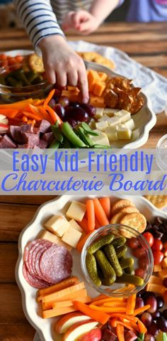Kid Friendly Cheese Boards are excellent for weekend snacking or parties and are loaded with a wide variety of fruits, veggies, cheeses and meats. These also make great after school snack trays! Easy Family Friendly Charcuterie Tray via Plateau Charcuterie, Charcuterie Board, Charcuterie Recipes, Catering Recipes, Veggie Platters, Veggie Tray, Party Platters, Snack Platter, Snack Trays