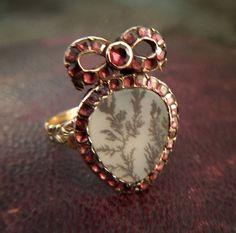 -Georgian Flat Cut Garnet And Dendritic Agate Heart With Bow Ring Agate Jewelry, Garnet Jewelry, Garnet Gemstone, Heart Jewelry, Gemstone Rings, Bow Jewelry, Diamond Jewellery, Jewelry Rings, Antique Rings