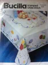 "Stamped Cross Stitch Tablecloth by Bucilla Celebration Birthday Party 52"" x 70"""