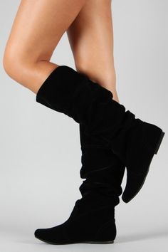 a8fb7604455 Qupid Neo-144 Velvet Slouchy Knee High Flat Boot