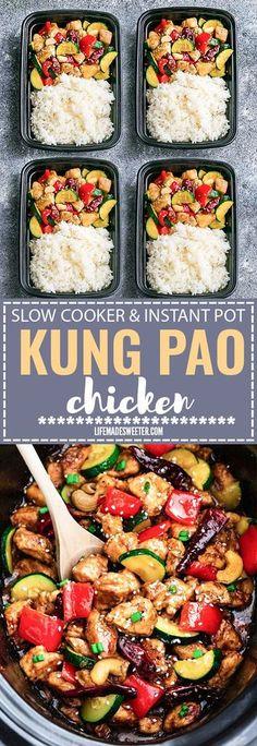 Slow Cooker or Instant Pot Kung Pao Chicken makes the perfect easy and lightened up weeknight meal. Best of all, this takeout favorite, is SO much healthier and better than your local Chinese restaurant with just a few minutes of prep time. With gluten free and paleo friendly options. Weekly meal prep or leftovers are great for lunch bowls, lunchboxes for work or school. With instructions to make it in your crock-pot or pressure cooker!