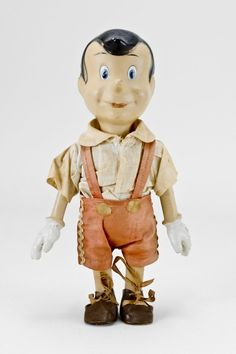 "Dressed Composition Pinocchio Doll  11"" doll is fully jointed with clothes and shoes. Most likely made by Crown Toy and Novelty, around 1940."