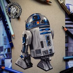 About 20 hours worth roughly took so long due to the size. A5 prismacolor pencils and fabercastell on strathmore grey tone paper  #r2d2 #prismacolor #starwars #art #drawing by whilesheburystomorrow