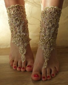 Champagne french lace sandals wedding anklet by WEDDINGGloves, $35.00