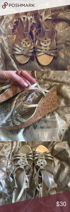 Gold strap wedges Worn only once and in excellent condition. Cork wedges with textured shiny gold straps. Great spring shoes Kelly & Katie Shoes Wedges