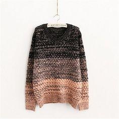 Funshop Woman's Gradient Stripe Pattern Round Neck Sweater 081223 Color Brown