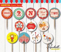 Carnival Cupcake Toppers for Carnival Birthday Party.  In 12 designs! Circus Cupcake Toppers for Circus birthday. DIY Circus Circles.