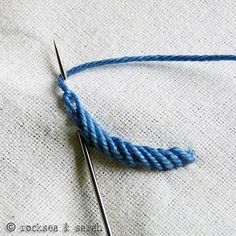 Rope stitch using a twisted chain stitch - tutorial. - Asuman Yaşar - - Rope stitch using a twisted chain stitch - tutorial. Rope stitch using a twisted chain stitch - tutorial. (lots of clear tutorials at this site) Ooh I love this stitch. Embroidery Stitches Tutorial, Embroidery Needles, Silk Ribbon Embroidery, Crewel Embroidery, Hand Embroidery Patterns, Embroidery Techniques, Cross Stitch Embroidery, Simple Embroidery, Embroidery Online