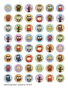 1 inch circles Owls and Woodland Creatures Digital by InkFive, $4.20