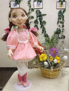 Купить Катюша - кремовый, розовый платье в цветочек, косички, бантики, цветы, Брюнетка, бязь Harajuku, Dolls, Style, Baby Dolls, Swag, Puppet, Doll, Baby, Outfits