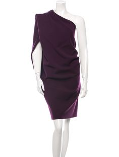 Purple Lanvin wool one shoulder dress with draped pleats throughout, asymmetrical neckline and exposed two way zip closure at side.