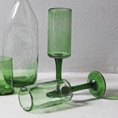 These champagne glasses are handmade from recycled, organic glass in a studio in Guatemala. Organic Glass, Champagne Glasses, Recycled Glass, Hand Blown Glass, Recycling, Artisan, Tableware, Shop, Handmade