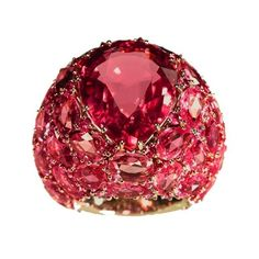 Pomellato One-of-a-kind Pom Pom ring with drop faceted pink tourmaline and pink sapphires set in natural white gold.