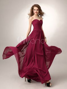 Floor-Length Burgundy A-line Ruched Chiffon Bridesmaid Dress with Sweetheart Neck -No.2