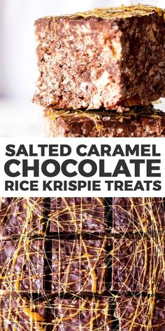 An easy no bake dessert, these salted caramel dark chocolate Rice Krispie treats are totally grown up. Rich and gooey with a generous drizzle of caramel and plenty of coarse sea salt, they are going…More Salted Caramel Chocolate, Chocolate Caramels, Chocolate Lovers, Easy No Bake Desserts, Delicious Desserts, Dessert Recipes, Sweet Desserts, Yummy Treats, Sweet Treats