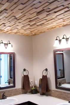 ceiling design with wood tiles