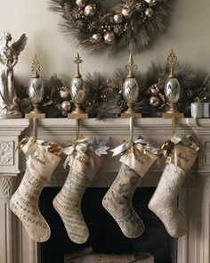 French Laundry Home Personalized Stockings  & Glass Stocking Holders @Horchow: Personalized stockings with velvet cuffs are exclusively ours and coordinate beautifully with glass stocking holders with metal finials. Plain Stocking: $98.00 / Sale: $33.90.