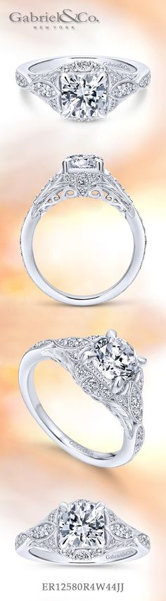 Gabriel & Co. - Voted #1 Most Preferred Fashion Jewelry and Bridal Brand. Meet Windsor - 14k White Gold Round Halo Engagement Ring