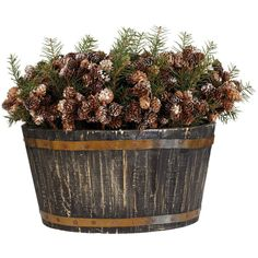 OKA Basket of Christmas Pine Cones ($120) ❤ liked on Polyvore featuring home, home decor, holiday decorations, christmas, plants, decor, flowers, fillers, detail and embellishment