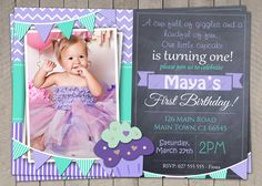 Girls 1st Birthday Invitation / Printable Download /  First Birthday Invitation Invites / Purple Aqua Cupcake DIY Digital Chevron Polka (41) by InvitaitonsByLittleP on Etsy