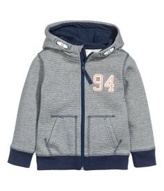 Hooded Jacket | Dark blue/narrow striped | Kids | H&M US