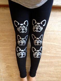 Black dog leggings  Bulldogs  Handmade cotton by COOLLeggings