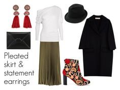 Pleated skirt & statement earrings outfit by netstylistka on Polyvore featuring moda, Tom Ford, Marni, Sole Society, Lulu Guinness and Lanvin