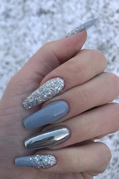 Cute nail art❥ 43 Nail Design Ideas Perfect for Winter 2019 Silver Nail Designs, Cute Acrylic Nail Designs, Gel Nail Designs, Designs For Nails, Nail Designs With Glitter, Coffin Nails Designs Summer, Long Nail Designs, Simple Nail Art Designs, Beautiful Nail Designs