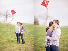 Love the bright kite!  Dallas Vintage Bicycle Picnic Engagement - Photos by Ivy Weddings