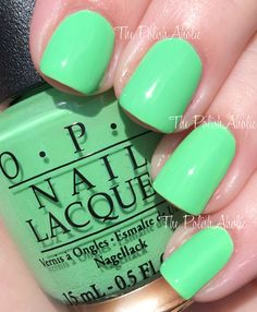 """OPIs """"You're So Outta Lime"""" from its 2014 Neons Collection. Bright, light neon green nail color/shellac is soooo fun!!!"""